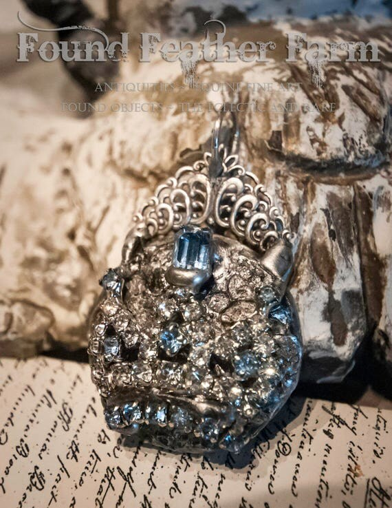 Handmade Jeweled Crown Pendant with a Vintage Rhinestone Crown and Silver Lace Details