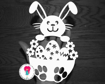 Boy Easter Bunny paper cut svg / dxf / eps / files and pdf / png printable templates for hand cutting. Digital download. Commercial use ok.