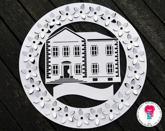 3D Home Paper Cut Template (With blank banner to add your own text) SVG / DXF Machine Cutting File & PDF Printable For Hand Cutting Download