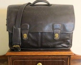 Coach Organizer Briefcase Attache Laptop IPad Case Style No 532 - Black Leather Brass Hardware - Vintage With Modern Storage