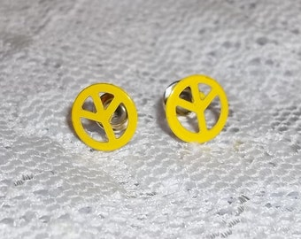Vintage Bright Yellow Peace Sign 8mm Post Back Earrings ca. 1960s