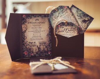 Invitation inspired by Alice in Wonderland | Stunning invite set | Perfect for weddings, birthdays, quinceanera | rustic vintage style