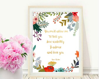 Pride And Prejudice, Quote Print, Typographic Art, Jane Austen Quote, Printable wall Art,  Modern Wall Art, digital Download, Home Decor