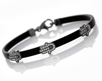 Silver Hamsa Rubber Charm Bracelet - SB300