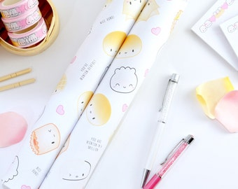 "Dimsum Gift Wrap - ""All Over Punny Dimsum"" [Funny Wrapping Paper, Birthday Gift Wrap, Wrapping Paper Sheets, Valentine Wrapping Paper]"