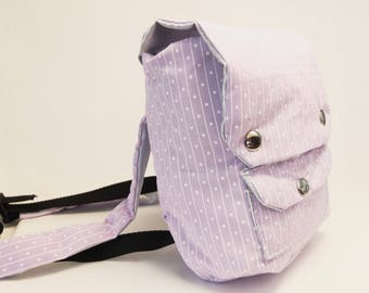 Backpack Small - Purple Pinstripe and Blue Shine