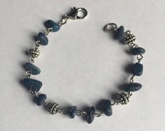 Navy Blue Chip Beaded Bracelet