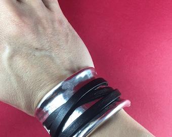 9/5 MADE in EUROPE zamak half bracelet, large heavy duty bracelet connector, silver half cuff (ABLZ67) Qty1