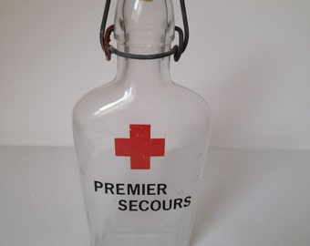 "vintage french bottle Red Cross ""Premier secours"" (First help)"