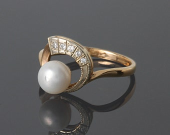 FINAL SALE 50% OFF, Pearl ring , White pearl ring, Art deco ring, Pearl ring gold, Promise pearl ring, Womans pearl ring, Elegant gold ring