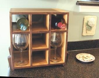 Space-saving Wine Rack and Glass Holder