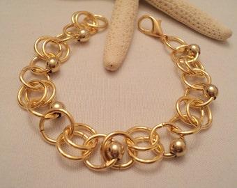Gold Link Bracelet, Gold Chain Bracelet, Gold Chainmaille, Gold Bracelet, Link Bracelet, Wedding, Bridesmaids, Boho Bracelet, Boho Jewelry