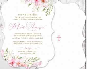 Pink and Gold Watercolour Floral Girl Baptism Christening Invitations | A5 Die Cut Scallop Shape, Free Colour Changes | Peach Perfect