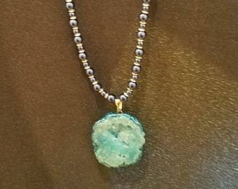 Blue Druzy Geode Long Necklace*~