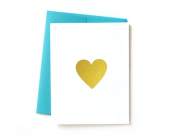 Gold Heart Love Note Cards for Him or Her, I Love You Card for Anniversary, Thank You Cards, Gold Foil Heart Stationery
