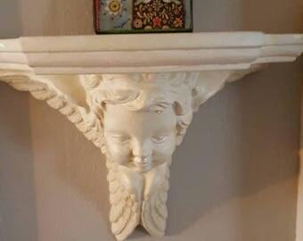 Shabby Cottage Cherub Wall shelf.....Ceramic....Creamy white