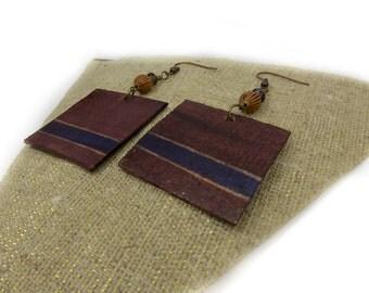 Square Dangle Wooden Earrings