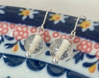 Glass bead silver earrings