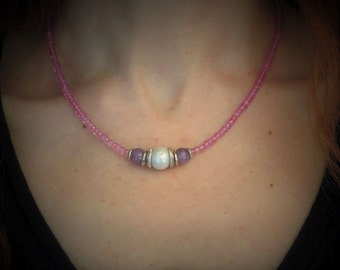 Necklace silver massive 950, Topaz rose, lepidolite and baroque Pearl