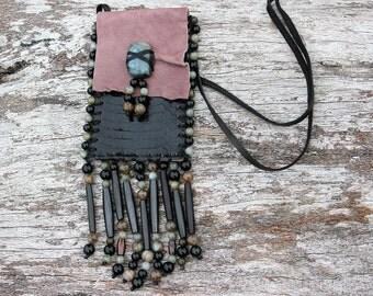 Purple Mauve Shamaness Medicine Bag, Goat Leather, Black Snake Skin, Labradorite and Obsidian Stone Beaded Shaman Gemstone Necklace