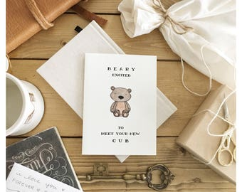 Baby card // baby shower card, baby bear, card for baby, funny baby card, baby pun, punny, new baby card, congrats card, baby greeting card