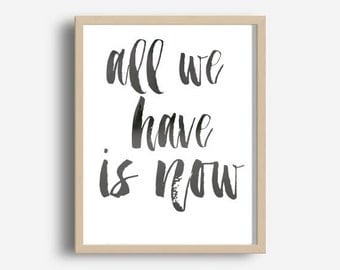 Typography Print, All We Have Is Now Print, Printable Wall Art, Motivational Print, Printable Quote, Modern Wall Art, Downloadable Print