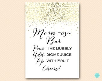 Gold Momosa Bar Sign Baby Shower, Mimosa Bar Printable, Bubbly Bar Sign, Mimosa Sign, Mimosa Bar, Baby Shower Decoration Signs TLC472 db