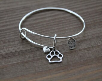 Paw print bangle bracelet