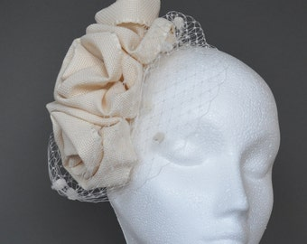 Ivory flower wedding fascinator. Cream wedding fascinator. Ivory spotted veil fascinator.  Ivory silk fascinator. Cream silk fascinator.