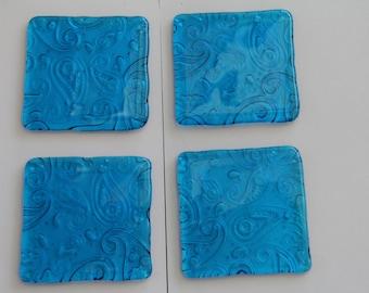 4 turquoise irid rainbow fused glass textured glass coasters, paisley pattern, fused glass coasters, paisley coasters, glass coasters