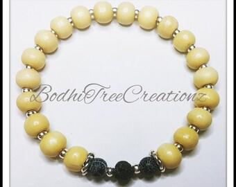 Gemstone Bracelet Lava Stone wooden beaded bracelet