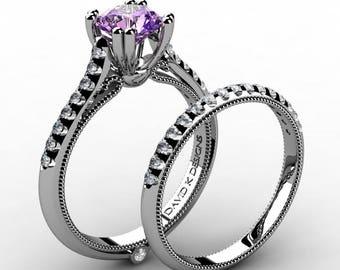 Classic Italian 14K White Gold 1.0 Ct Amethyst Diamond Engagement Ring Wedding Band Set R1130S-14KWGDAM