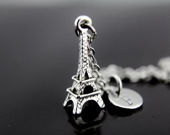 Silver Eiffel Tower Charm Necklace, Eiffel Tower Charm, Eiffel Tower Pendant, Paris Necklace, Personalized Necklace, Initial Charm