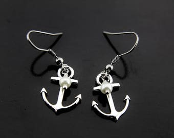 Anchor with White Pearl Earrings, Anchor Charm Dangle Earrings, Silver Anchor Earrings, Pearl Earrings, Silver Earrings