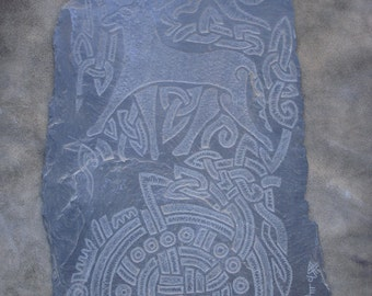 Saxon engraved stone from the Lancaster cathedral (UK) / Saxon Estela of the Cathedral of Lancaster (UK)