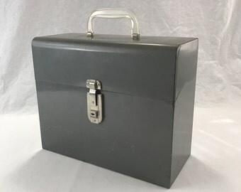 HAS KEYS-Vintage Metal File Box With Original Files-Retro Office Storage-Portable File Holder