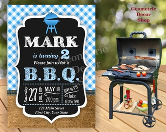 BBQ Birthday Party Invitation Blue Plaid Invite Rustic 1st Birthday Boy Girl Neutral Burlap denim barbecue barbeque Photo Photograph BDBBQ5