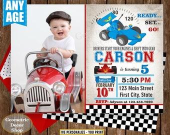 Race car birthday invitation - race car party invite - vintage - race car - first birthday - Photo - Photograph - Cars - Red Blue BDCar11