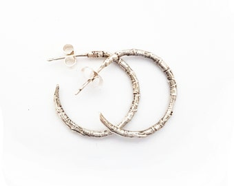 Silver Woodland Twig Hoop Earrings - Nature Boho Forest Woods