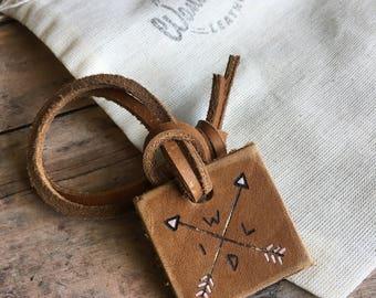 Gypsy luggage tag, leather luggage tag, compass luggage tag, mini luggage tag