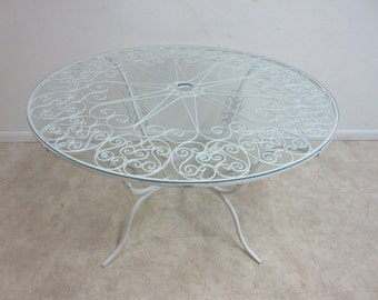 Vintage Outdoor Scrolled Iron Round Patio Porch Dining Room Table