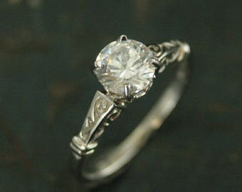 White Gold Engagement Ring - Eve Engagement Ring - Vintage Style Ring - Antique Style Ring - La Petite Eve Ring - Moissanite Ring - Elegant