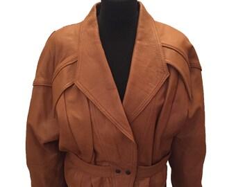 Tan Leather Batwing Jacket