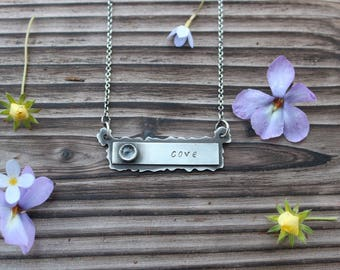 Birthstone Name Necklace Sterling Silver; Mothers Day; Best friends; handmade jewelry;