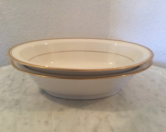 "Vintage Noritake Ivory China ""Linton"" Pattern No. 7552, Set Of Two (2) Oval Vegetable Bowls. Cream Body, Gold Trim. Discontinued Circa 1966."