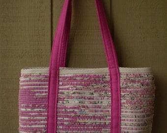 Large Handwoven Market Bag/ Bright Pink Straps