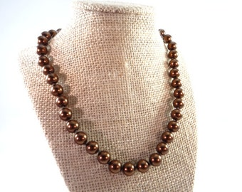 Bronze Pearl Necklace, Vintage Bronze Brown Pearl Necklace