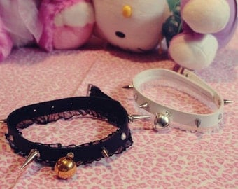 Simple faux leather ruffle kitty collars