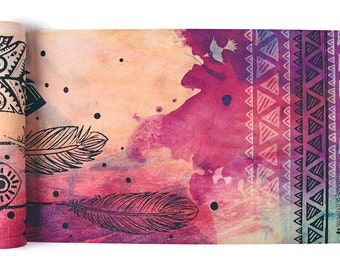 Dream Weaver Yoga Mat-yoga- printed yoga mat- tribal yoga mat- dream catcher- tie dye- boho-feathers