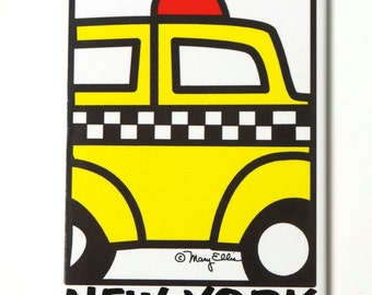 New York Taxi Cab magnet NY City Souvenir 2.5 x 3.5 glossy metal refrigerator magnet painting by Mary Ellis